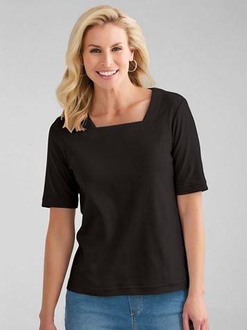 Essential Knit Elbow-Sleeve Square-Neck Tee - Image 1 of 4