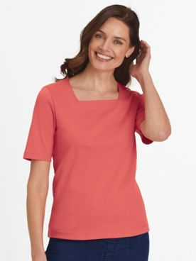 Essential Knit Elbow-Sleeve Square-Neck Tee