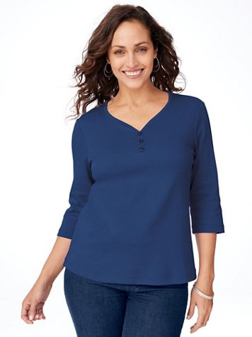 Essential Knit Sweetheart Neckline Tee - Image 1 of 8