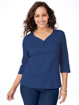 Essential Knit Sweetheart Neckline Tee