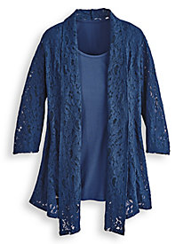 Elisabeth Williams® Lace 2-In-1 Waterfall Top
