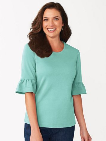 Essential Knit Elbow-Length Flounce-Sleeve Tee - Image 1 of 7