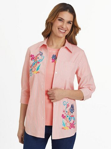 Three-Quarter Sleeve Embroidered Button-Front Twinset - Image 1 of 9