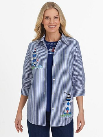 Three-Quarter Sleeve Embroidered Button-Front Twinset - Image 1 of 6