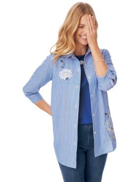 Three-Quarter Sleeve Embroidered Button-Front Twinset
