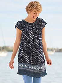 Lace-Trimmed Border Print Tunic