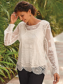 Lace Top with Crochet Hemline
