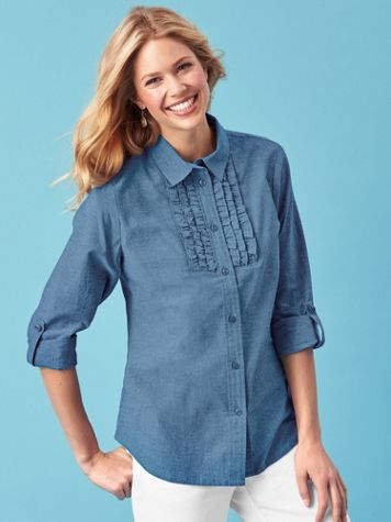Chambray Ruffle Top - Image 0 of 1
