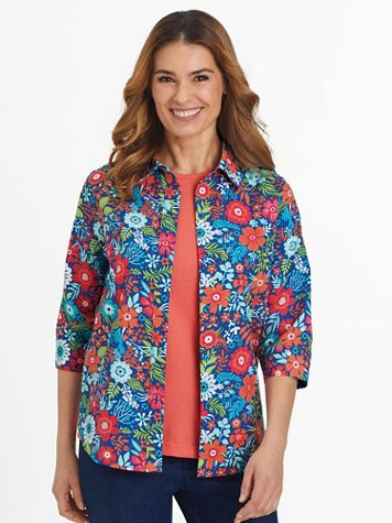 Fiesta Print Three-Quarter Sleeve Shirt  - Image 1 of 9