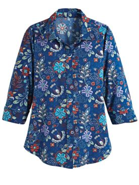 Fiesta Print Three-Quarter Sleeve Shirt