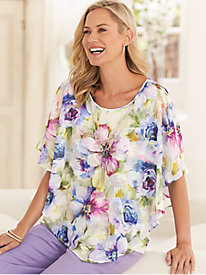 Alfred Dunner Watercolor® Floral 2-in-1 Top