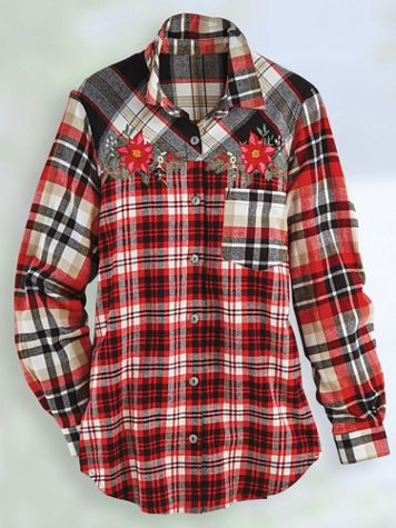 Super-Soft Embroidered Flannel Shirt