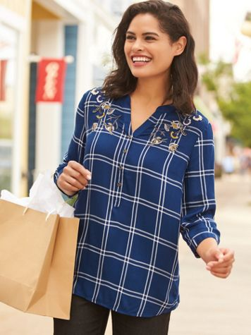Plaid Embellished Shirt - Image 1 of 4