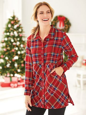 Plaid Tunic With Pockets - Image 1 of 2