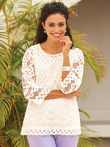 Elisabeth Williams® Lace Overlay Top - Image 1 of 5