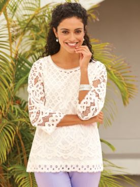 Elisabeth Williams® Lace Overlay Top
