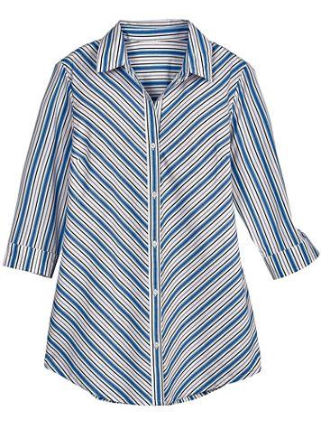 Mitered Three-Quarter Sleeve Stripe Tunic - Image 1 of 3