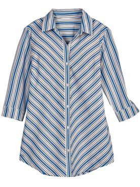 Mitered Three-Quarter Sleeve Stripe Tunic