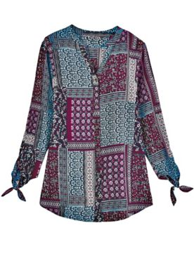 Three-Quarter Sleeve Patchwork Top