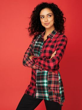 Long-Sleeve Mixed-Media Plaid Tunic