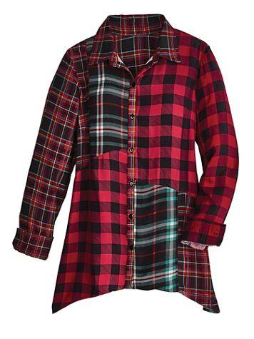 Long-Sleeve Mixed-Media Plaid Tunic - Image 2 of 2