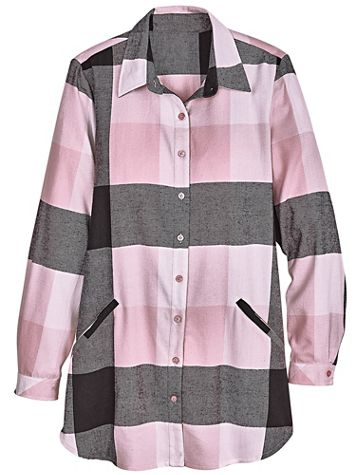 Annie Plaid Button-Front Pocket Tunic - Image 1 of 3