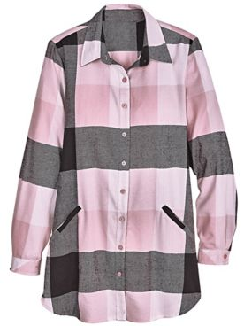 Annie Plaid Button-Front Pocket Tunic