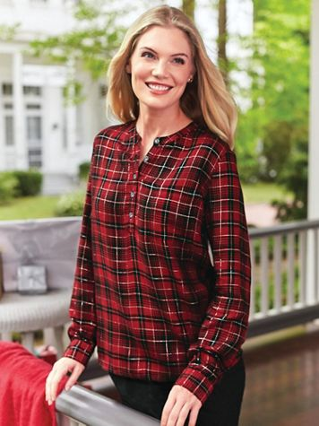 Lurex Long-Sleeve Popover Top - Image 1 of 2