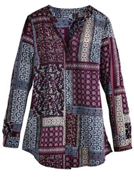 Three-Quarter Sleeve Patchwork-Print Tunic