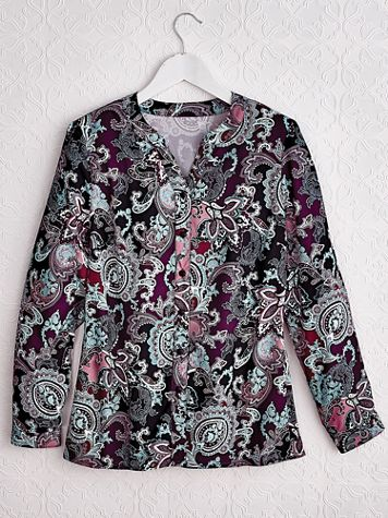 Long-Sleeve Button-Front Paisley Top - Image 3 of 3