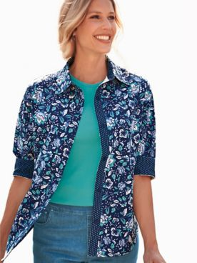 Fiesta Contrast-Print Three-Quarter Sleeve Shirt