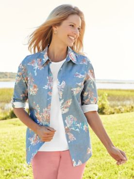 Three-Quarter Sleeve Floral Denim Shirt