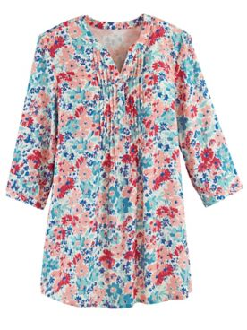 Three-Quarter Sleeve Pintuck Tunic