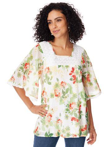 Elbow-Sleeve Gauze Tunic - Image 1 of 8