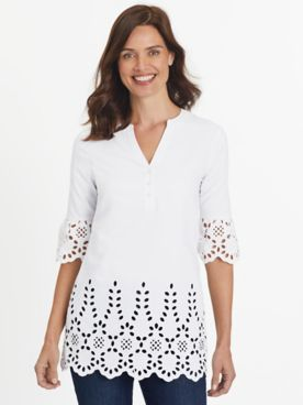 Fiesta Elbow-Sleeve Eyelet Top