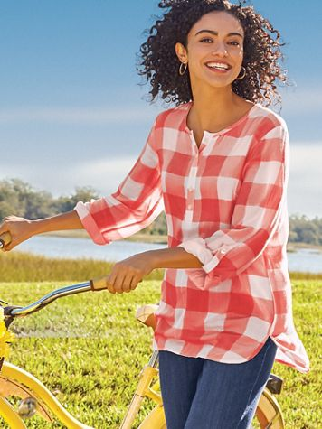 Gingham Popover Top - Image 2 of 2