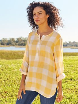 Gingham Popover Top
