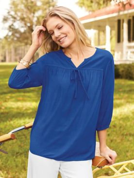 Three-Quarter Sleeve Peasant Top