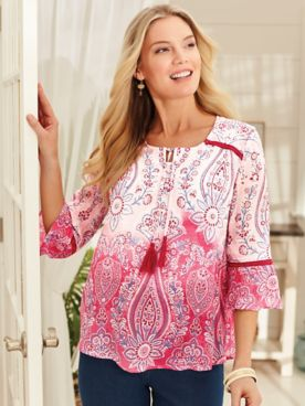 Three-Quarter Sleeve Ombré-Print Top