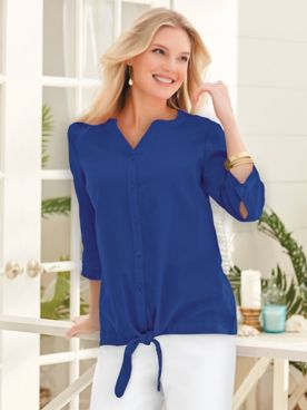 Three-Quarter Sleeve Gauze Tie-Hem Top