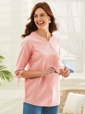 Three-Quarter Sleeve Summer Breeze Seersucker Top