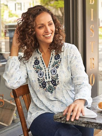 Long-Sleeve Embroidered Neckline Top - Image 1 of 3