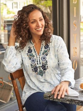 Long-Sleeve Embroidered Neckline Top