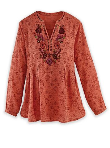 Long-Sleeve Embroidered Neckline Top - Image 2 of 3