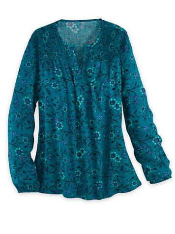 Long-Sleeve Smocked Top - Image 1 of 4
