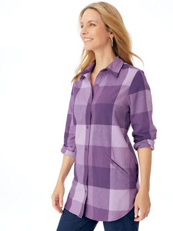 """Long-Sleeve """"Annie"""" Flannel Tunic - Image 1 of 5"""