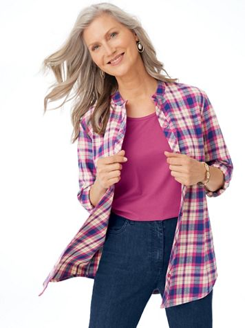 Plaid Flannel Tunic - Image 1 of 8