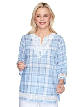Alfred Dunner Lace Trim Plaid Shirt