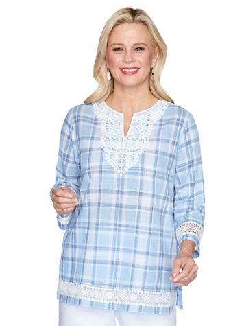 Alfred Dunner Lace Trim Plaid Shirt - Image 3 of 3