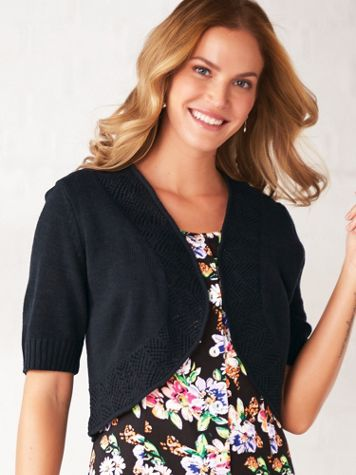 Short-Sleeve Pointelle-Trim Shrug - Image 1 of 9